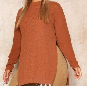 Boohoo Curve Side Split Tunic Sweater